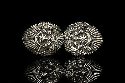 Antique Original Silver Ottoman Turkish Flag Decorated Amazing Belt Buckle