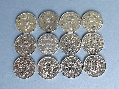 Silver Threepence 3d Coins 12 Different Dates (L4-753)