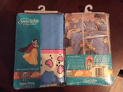 Vintage Disney Snow White & Dopey 2 Pillowcases Fabric Brand New