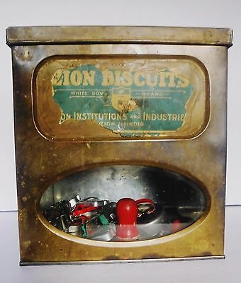 Antique Zion Biscuit Co  Advertising Store Tin Display White Dove Brand