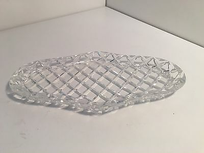 Vintage Crystal Plate Sandwich Biscuits High Tea Thick Heavy Clear Glass Diamond