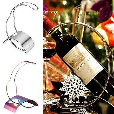 European Curved Stainless Steel Wine Holder Bottle Rack Stand Champagne Storage