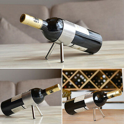1X Single Bottle Stainless Steel Wine Rack Metal Kitchen Display Holder Bar Club