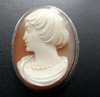 vintage hallmark STERLING SILVER carved shell cameo pendant or brooch -C283