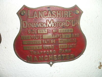 old brass plaque name plate manchester trafford park lancashire