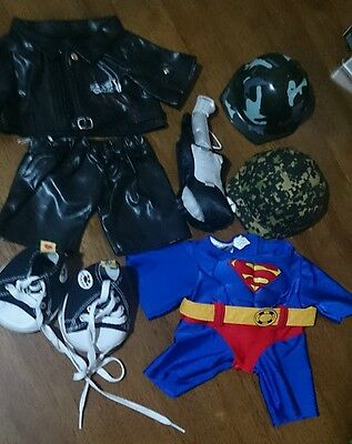 8-pc Build-A-Bear CLOTHES SuperMan Rock Star Guitar Rubber Shoes Helmets LOT