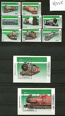 Gambia 1989 African Steam Locomotives Set 8 Stamps & Both Miniature Sheets Mnh
