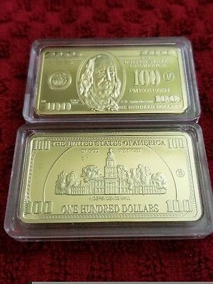 Collectors 1 Oz Gold Clad $100 Dollar Bar New Independence Mall
