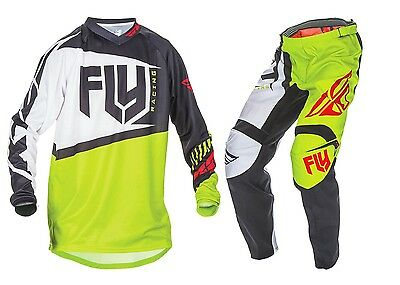 "New 34"" L 2017 Adult Fly F-16 Combo Jersey Pants Kit Black/Lime MX Enduro"