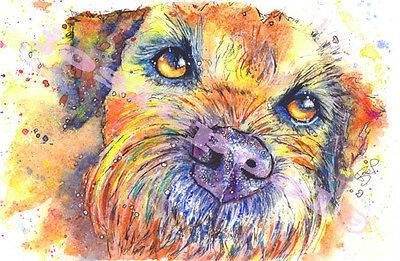 BORDER TERRIER PRINT Pup Dog Picture of ORIGINAL WATERCOLOUR Painting by Josie P
