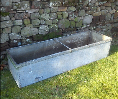 Victorian antique riveted galvanised Steel water trough or garden planter