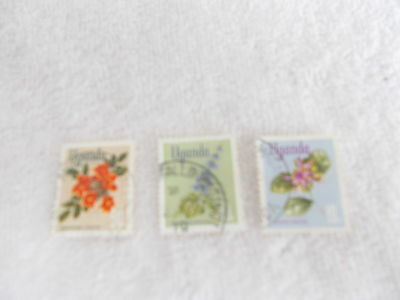 Stamps  Uganda  Lot Of 3  Flowers  1969