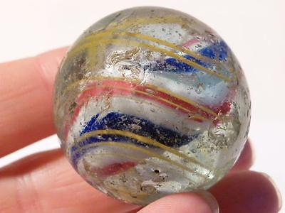 Antique Victorian Large Glass Marble RED WHITE BLUE center Core Twist & Yellow