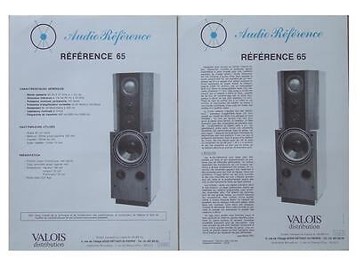 """Brochure Enceintes Audio Reference """"reference 65"""" 1985"""