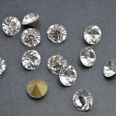 Crystal Clear Point back Rhinestones Round Crystal Glass Nail Art Chatons U2