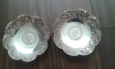 Lovely Antique Vintage Pair Sterling Silver Rupee 1892 Coin Pin Dishes