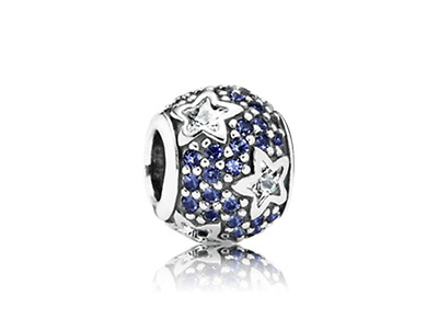 New Genuine 925 Sterling Silver PANDORA Blue Stars Pave Ball Charm