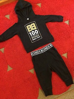 Bonds baby pants top 0 hooded black gold 100 years leggings boy girl outfit set
