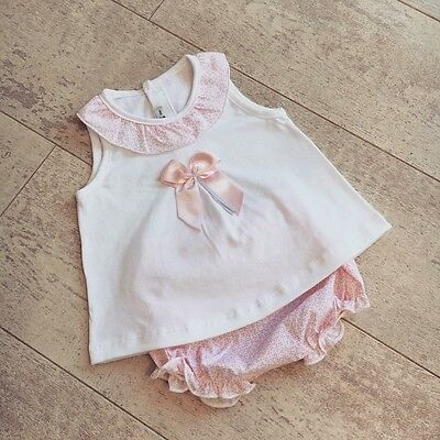 Spanish Calamaro Baby Girl Summer Outfit Top Jam Pants Pink White 12m 12 months