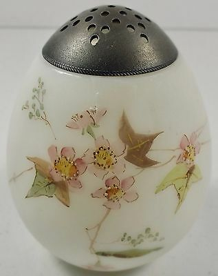 Antique Mt. Washington Decorated Satin Egg Sugar Shaker W/ Delicate Pink Flowers