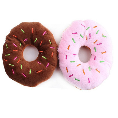 Puppy Cat Squeaky Donut Toy Pet Dog Chew Throw