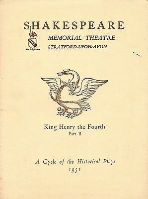 1951. Shakespeare Memorial Theatre. King Henry the Fourth, Part II. Programme +