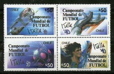 CHILE 1990 ITALY FOOTBALL WORLD CUP COMMEMORATIVE SET IN BLOCK OF FOUR MNH a