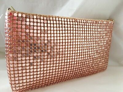 New Rose Gold Shimmer Satin Evening Day Clutch Bag Shoulder Chain Wedding Prom P