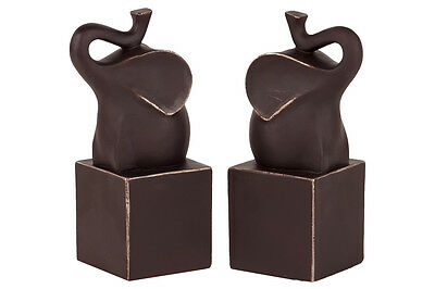Urban Trends Resin Trumpeting Elephant on Cube Platform Bookend Set of 2