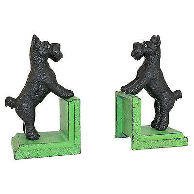 Design Toscano Over the Fence Scotty Dog Cast Iron Sculptural Bookends Set of 2