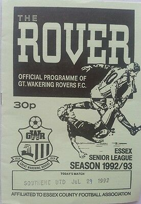 1992/93 Great Wakering Rovers v Southend United