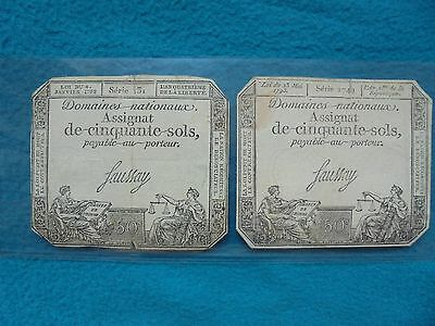 2 X 1792 & 1793  50 SOLS. FRENCH REVOLUTION very low serial numbers. ORIGINAL!