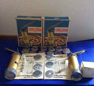 2 SAWA 2000 DELUXE Cookie Press Complete Kit Made in Sweden