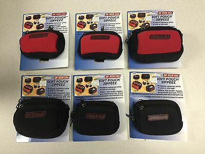 Lot of 6 OPITECH USA Camera Cases / SM and Med Soft Pouch Zippeez - w/ Package