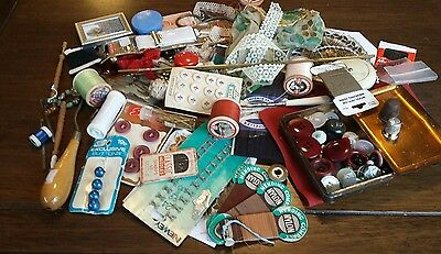 40 + Items Vintage Sewing Items, Needles   Beadwork  Lace Bobbins tape measure.