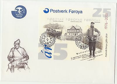 Faroe Islands 2001 Postal Services 25th Anniversary Minisheet First Day Cover
