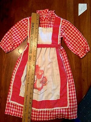Vintage 1970's Sears Strawberry Shortcake Red Long Dress Crisp Paper Tag Size 1T