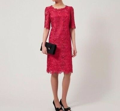 Jacques Vert Dress Red Lace Party / Cocktail / Mother of the Bride Size 14 BNWT