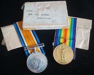 Ww1 Boxed Medal Pair To 28178 Pte C S Richer Northamptonshire Regt