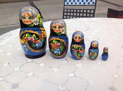 Vintage Russian Nesting Dolls Hand painted Set Stack Of 5