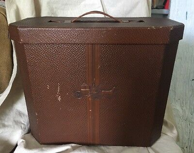 Antique Vintage Dobbs Leather Covered Hat Box Unusual