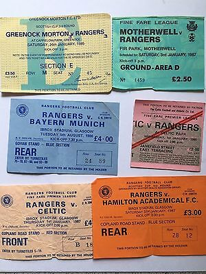 A Selection Of 6 Glasgow Rangers Football Ticket Stubs Inclu Bayern, Celtic Etc