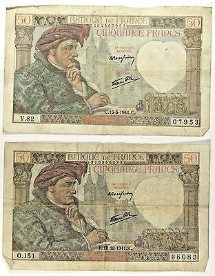 1939-40 Issue France 50 Francs 2 Notes