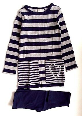 Next Girl`s Stripe Long Sleeve Tunic & Leggings Set Navy Size 5,6,8,12