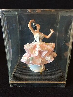 "Beautiful 4"" Dresden Lace Porcelain Germany Dancer Figurine in Original Box"