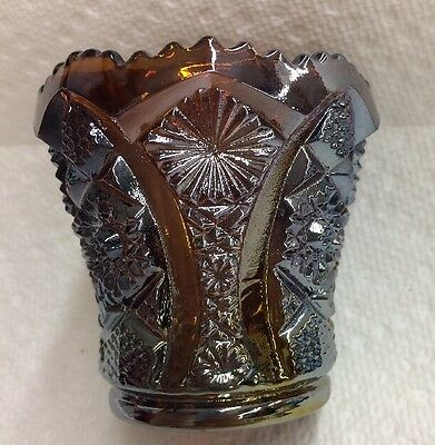 Imperial Glass Daisy Button Hobstar Toothpick Holder IG Amber Carnival