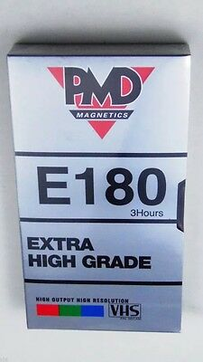 4 x PMD 3 Hour E180 Blank VHS Video Cassette Tapes - Factory Sealed.