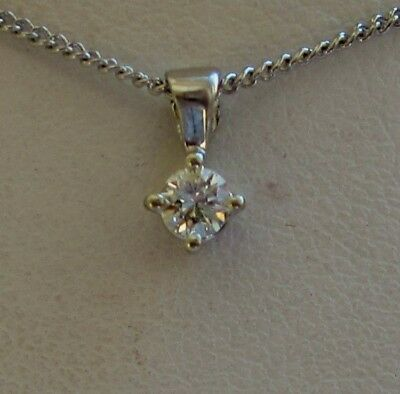 New .15ct Diamond Solitaire 9ct White Gold Pendant Necklace & Gold Chain