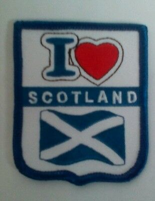 I LOVE  Scotland Heart Saltire Embroidered sew on Patch