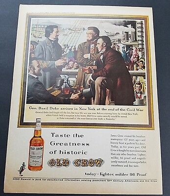 1962 - Old Crow Whiskey - Historic Greatness - Vintage Print Ad